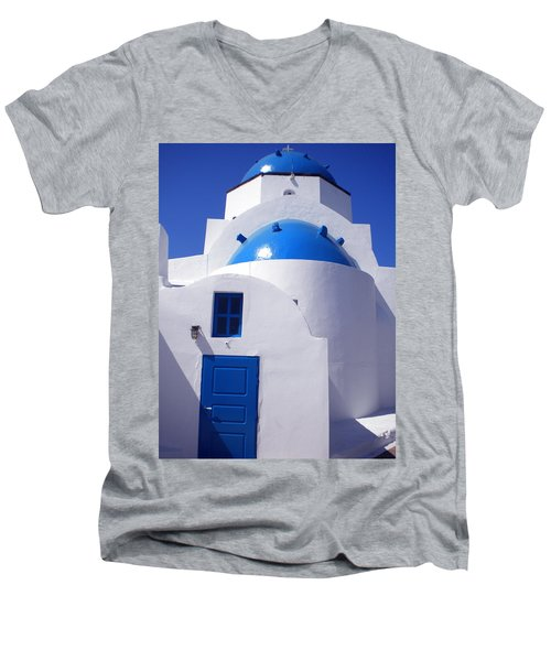 Men's V-Neck T-Shirt featuring the photograph Santorini Church  by Colette V Hera  Guggenheim