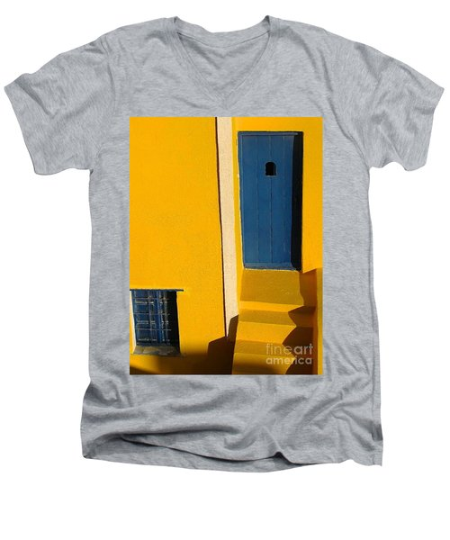 Santorini Doorway Men's V-Neck T-Shirt by Suzanne Oesterling