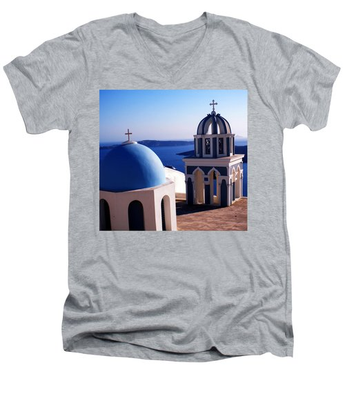 Men's V-Neck T-Shirt featuring the photograph Santorini  Island Church Greece  by Colette V Hera  Guggenheim