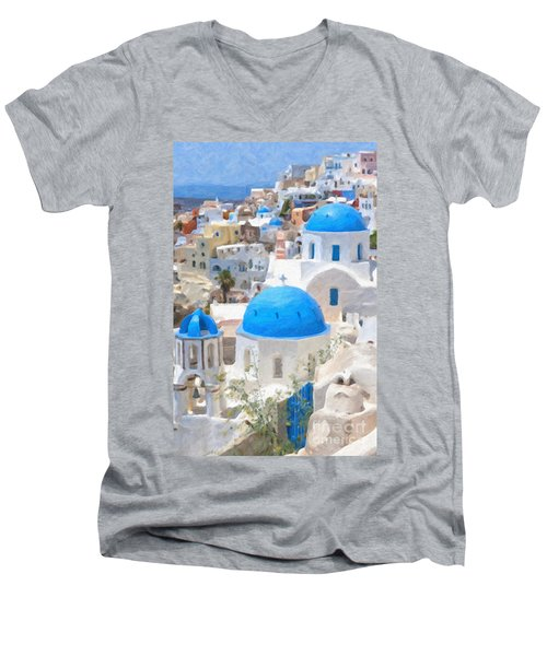 Santorini Oil Painting Men's V-Neck T-Shirt