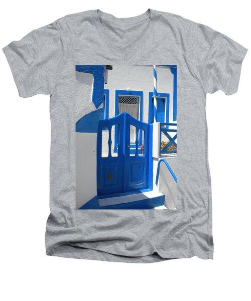 Men's V-Neck T-Shirt featuring the photograph Santorini Thirasia Island  by Colette V Hera  Guggenheim