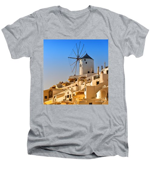 Santorini Windmill 05 Men's V-Neck T-Shirt