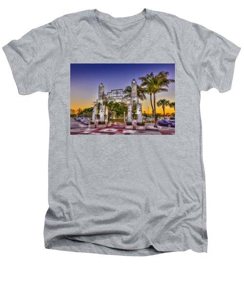 Sarasota Bayfront Men's V-Neck T-Shirt by Marvin Spates