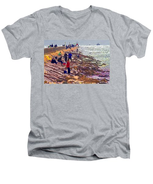 Men's V-Neck T-Shirt featuring the photograph Saturday Morning On The Surfside Jetty by Gary Holmes