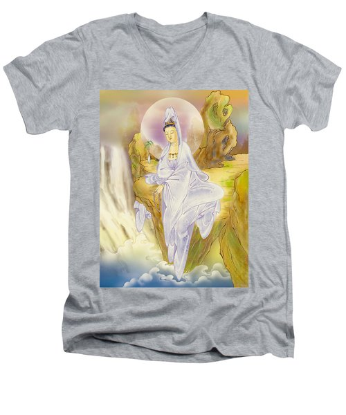 Sault-witnessing Kuan Yin Men's V-Neck T-Shirt by Lanjee Chee
