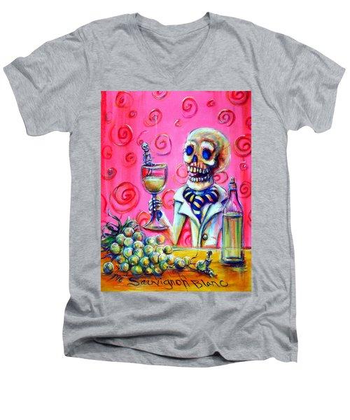 Men's V-Neck T-Shirt featuring the painting Mi Sauvignon Blanc by Heather Calderon