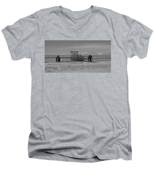 Men's V-Neck T-Shirt featuring the photograph Savageton Cemetery  Wyoming by Cathy Anderson