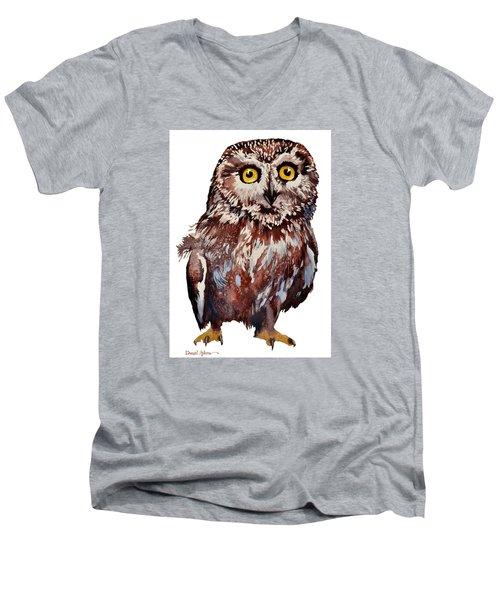 Da148 Saw Whet Owl Daniel Adams Men's V-Neck T-Shirt