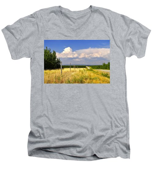Men's V-Neck T-Shirt featuring the photograph Sawmill Creek Road by Cathy Mahnke