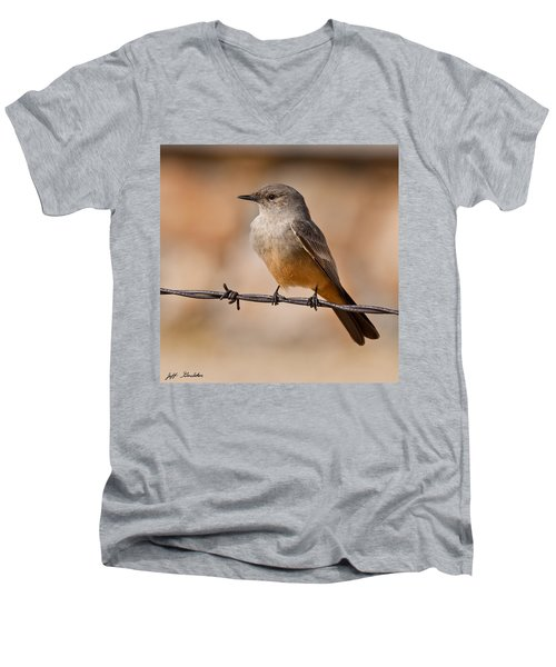 Say's Phoebe On A Barbed Wire Men's V-Neck T-Shirt