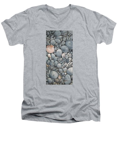 Scallop Shell And Black Stones Men's V-Neck T-Shirt by Mary Hubley