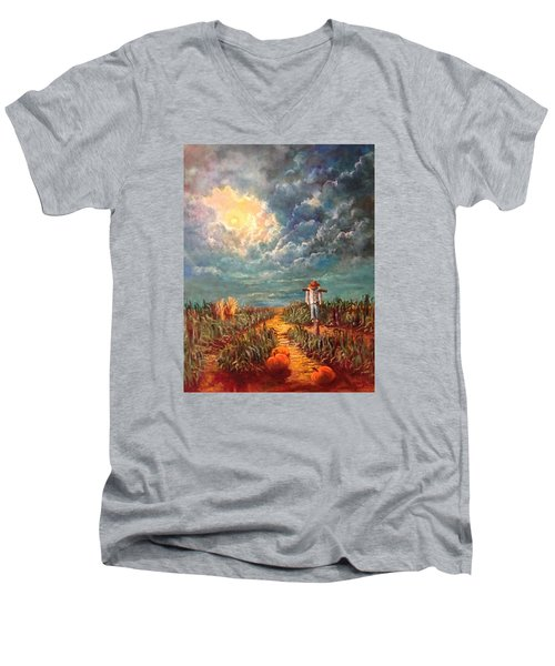 Scarecrow, Moon, Pumpkins And Mystery Men's V-Neck T-Shirt