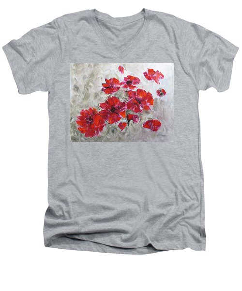 Scarlet Poppies Men's V-Neck T-Shirt