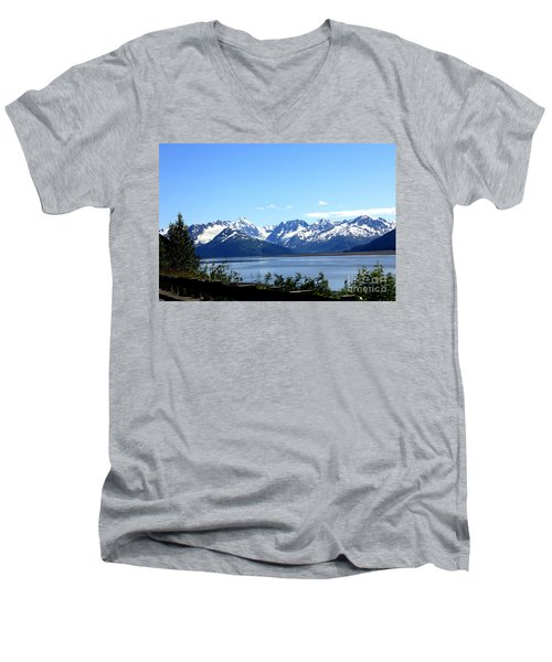 Men's V-Neck T-Shirt featuring the photograph Scenic Byway In Alaska by Kathy  White
