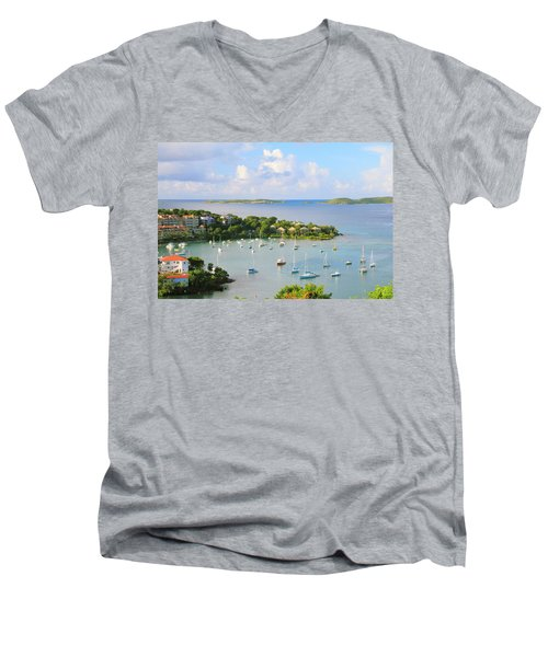 Scenic Overlook Of Cruz Bay St. John Usvi Men's V-Neck T-Shirt
