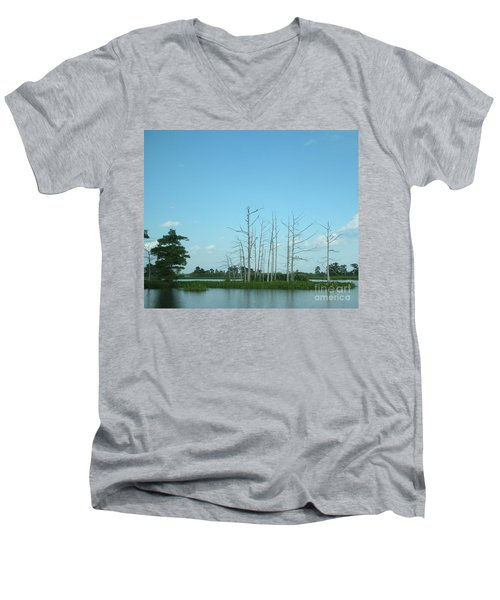 Men's V-Neck T-Shirt featuring the photograph Scenic Swamp Cypress Trees by Joseph Baril