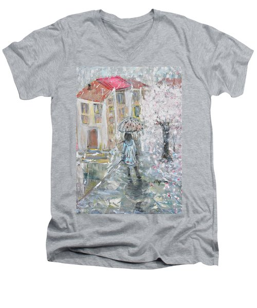 Men's V-Neck T-Shirt featuring the painting Scent Of Spring by Evelina Popilian