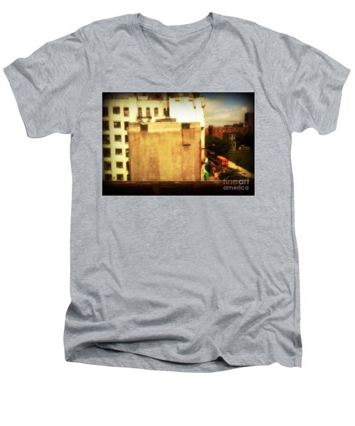 School Bus With White Building Men's V-Neck T-Shirt by Miriam Danar