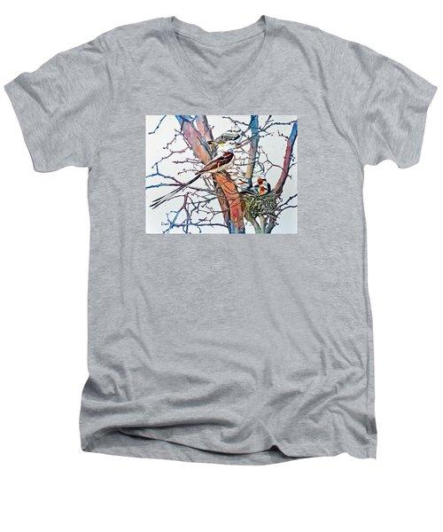 Da149 Scissortailed Flycatchers By Daniel Adams Men's V-Neck T-Shirt