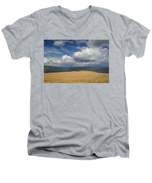 Scottish Coastal Wheatfield Men's V-Neck T-Shirt by Jeremy Voisey