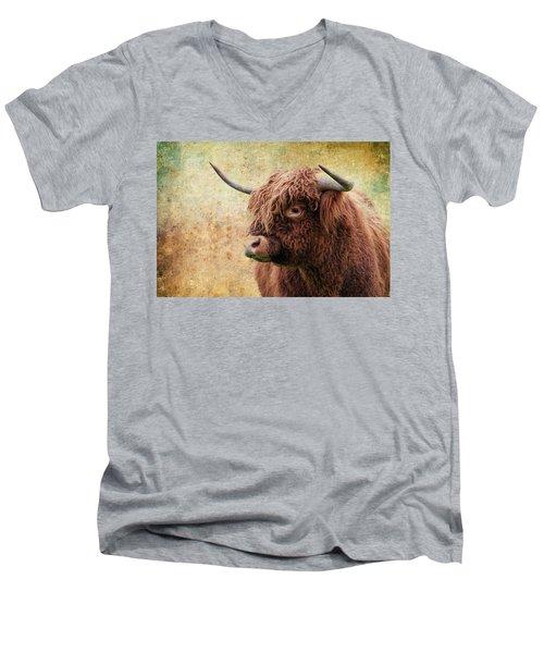 Scottish Highland Steer Men's V-Neck T-Shirt by Steve McKinzie