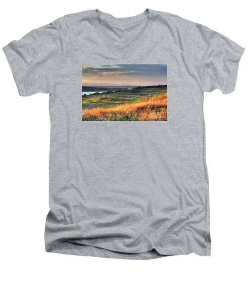 Men's V-Neck T-Shirt featuring the photograph Scottish Style Links In September - Chambers Bay Golf Course by Chris Anderson