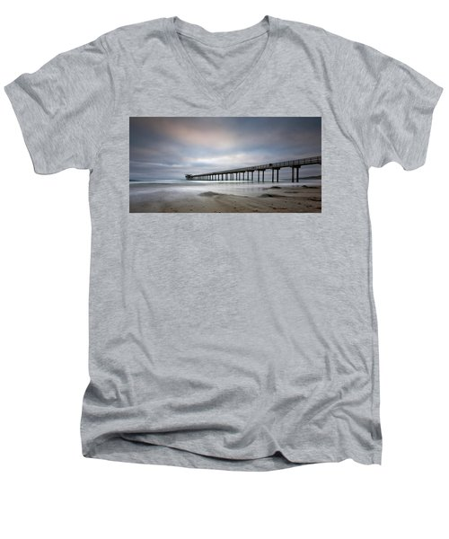 Scripps Pier Wide -lrg Print Men's V-Neck T-Shirt by Peter Tellone