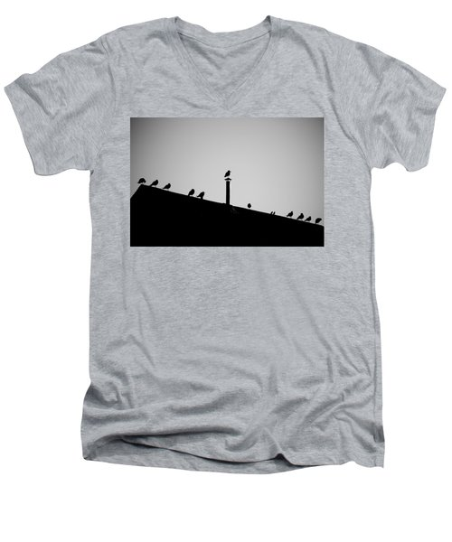 Sea Gulls In Silhouette Men's V-Neck T-Shirt