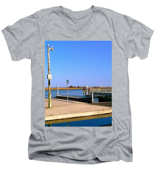 Men's V-Neck T-Shirt featuring the photograph Sea Gulls Watching Over The Wetlands by Amazing Photographs AKA Christian Wilson
