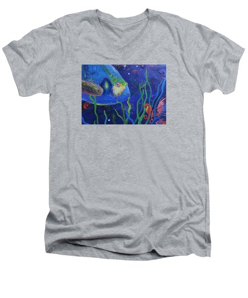 Sea Horse And Blue Fish Men's V-Neck T-Shirt by Anne Marie Brown