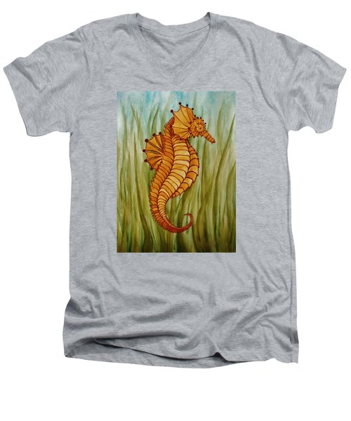 Men's V-Neck T-Shirt featuring the painting Sea Horse by Katherine Young-Beck
