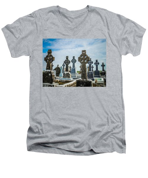 Sea  Of Celtic Crosses Men's V-Neck T-Shirt