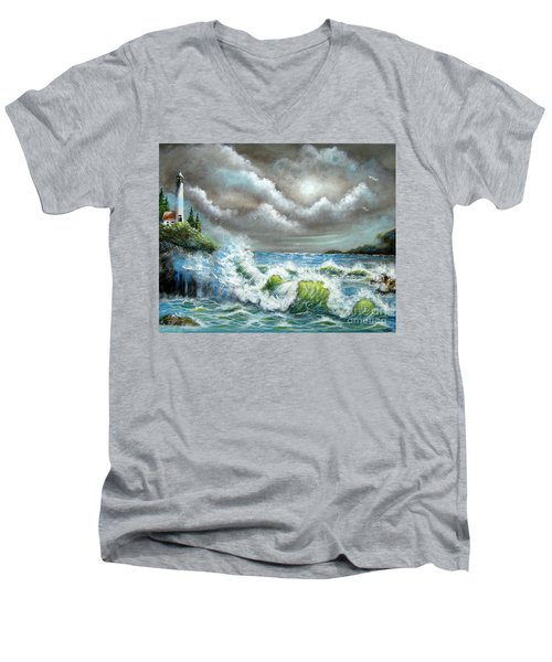 Men's V-Neck T-Shirt featuring the painting Sea Of Smiling Faces by Patrice Torrillo