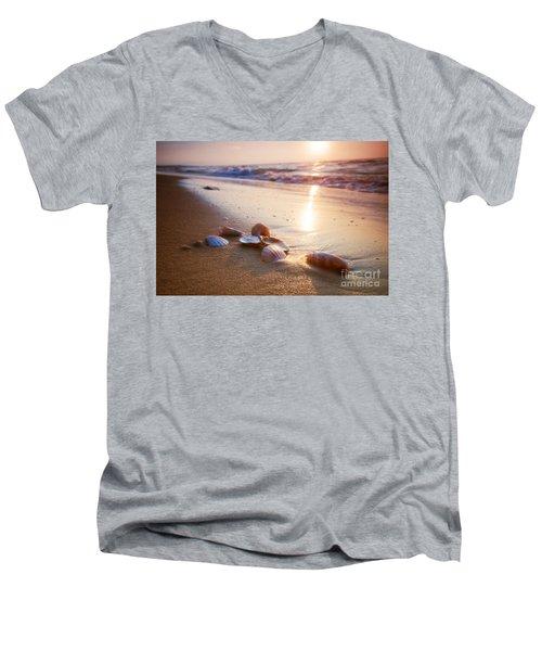 Sea Shells On Sand Men's V-Neck T-Shirt