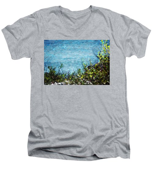 Men's V-Neck T-Shirt featuring the digital art Sea Shore 1 by David Lane
