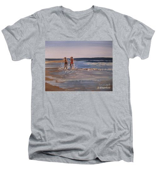 Sea Splashing On The Beach Men's V-Neck T-Shirt