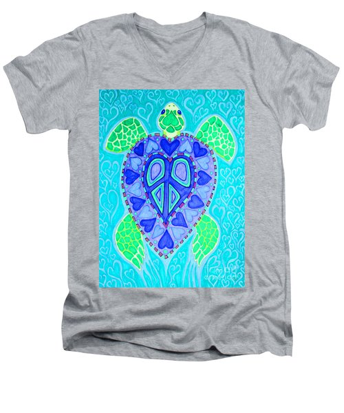 Sea Turtle Swim Men's V-Neck T-Shirt by Nick Gustafson