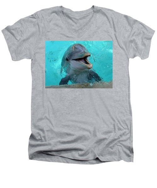 Men's V-Neck T-Shirt featuring the photograph Sea World Dolphin by David Nicholls