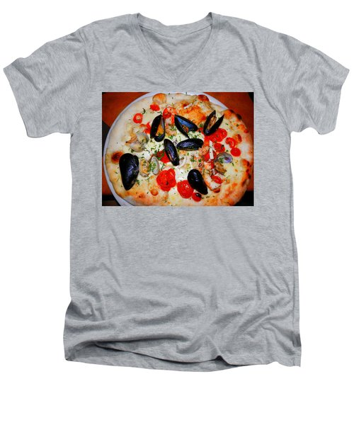 Seafood Pizza Men's V-Neck T-Shirt by Pema Hou
