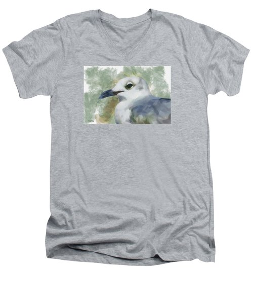 Seagull Closeup Men's V-Neck T-Shirt by Greg Collins