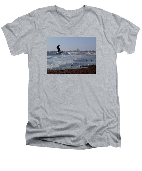 Men's V-Neck T-Shirt featuring the photograph Seagull by Robert Nickologianis