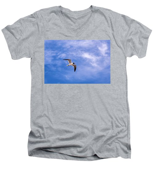 Men's V-Neck T-Shirt featuring the photograph Seagull by Sennie Pierson