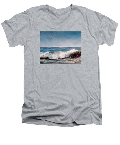 Men's V-Neck T-Shirt featuring the painting Seagull With Wave  by Lee Piper