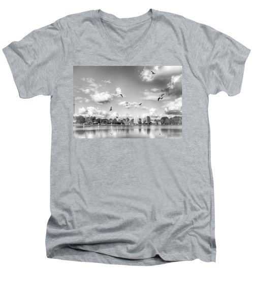 Men's V-Neck T-Shirt featuring the photograph Seagulls by Howard Salmon