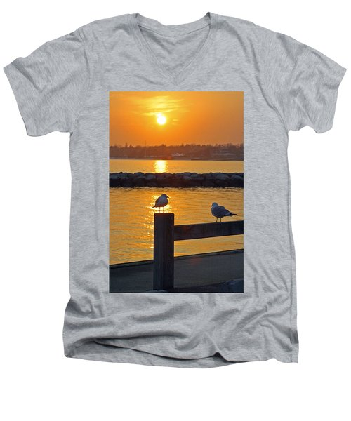 Seaguls At Sunset Men's V-Neck T-Shirt
