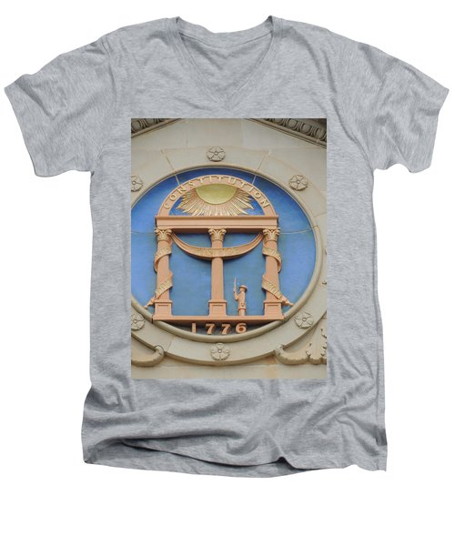 Men's V-Neck T-Shirt featuring the photograph seal of Georgia by Aaron Martens