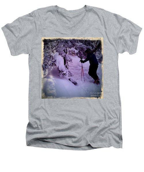 Men's V-Neck T-Shirt featuring the photograph Searching For Powder by James Aiken