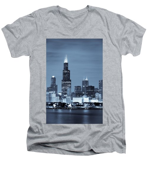 Men's V-Neck T-Shirt featuring the photograph Sears Tower In Blue by Sebastian Musial