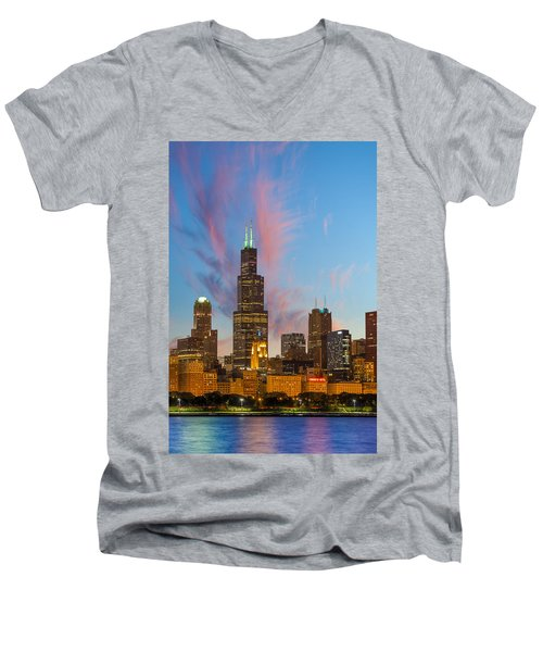 Men's V-Neck T-Shirt featuring the photograph Sears Tower Sunset by Sebastian Musial