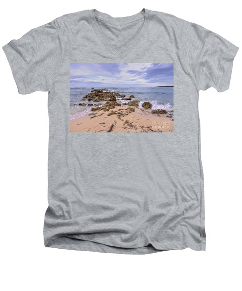 Seascape With Rocks Men's V-Neck T-Shirt